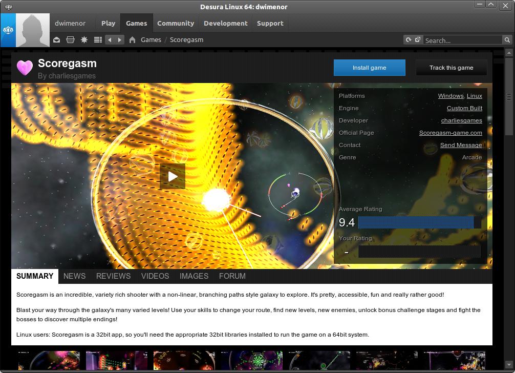 Desura - ekran z opisem gry